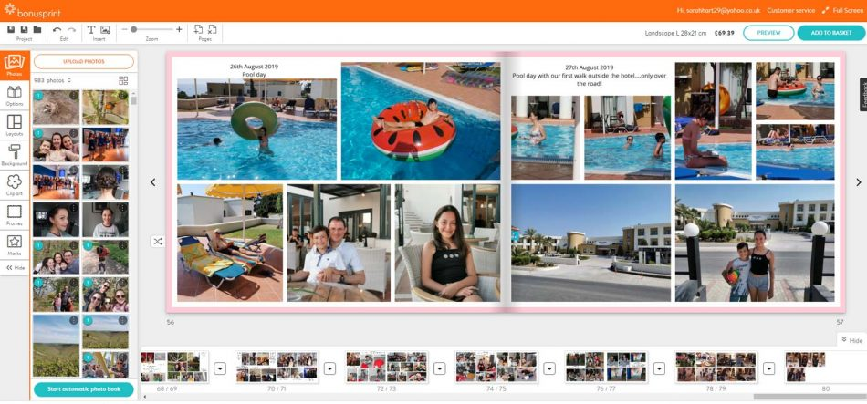 family photobook bonsprint page layout, family photographer kent