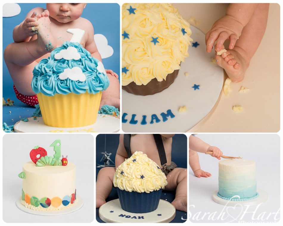 Different cakes available through a shoot at Sarah Hart Photography