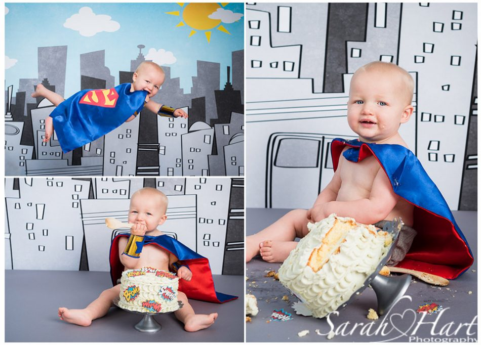 Superhero themed cake smash, Edenbridge cake smash photographer