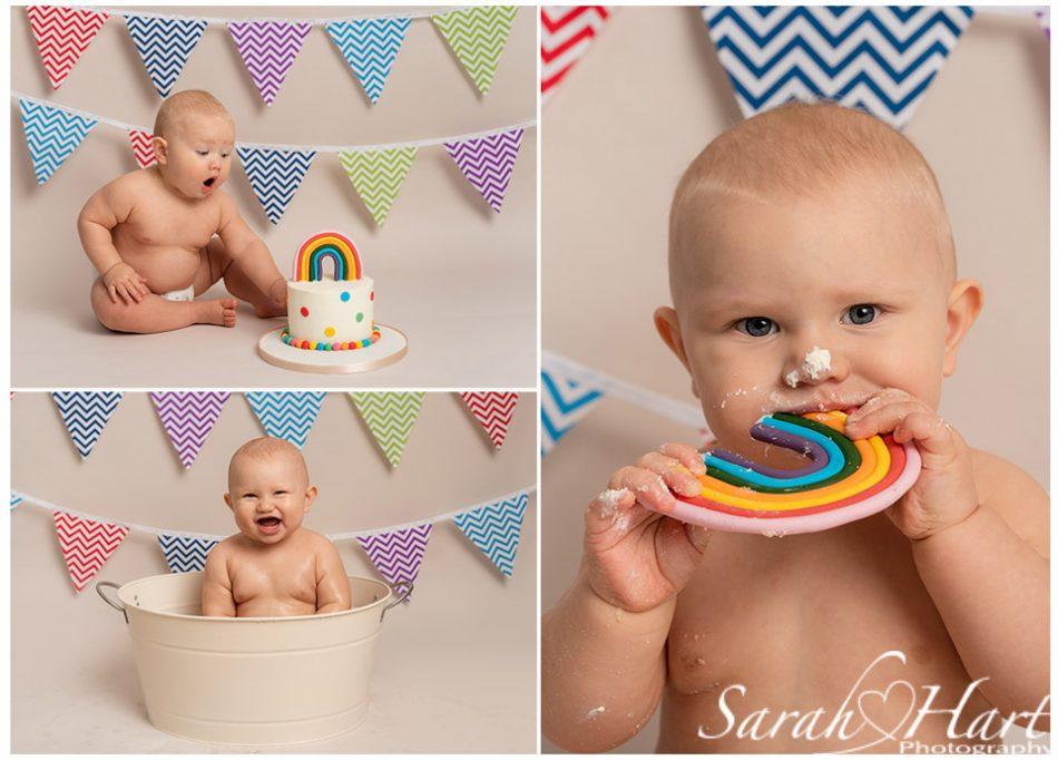 rainbow baby theme boy cake smash, kent cake smash