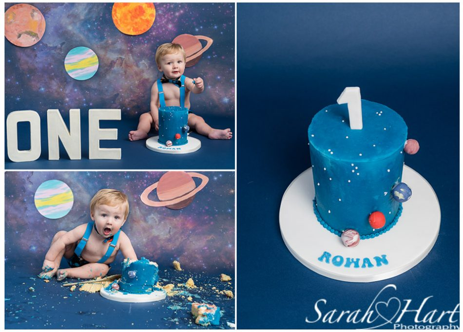 space themed cake smash photography, maidstone cake smash photographer
