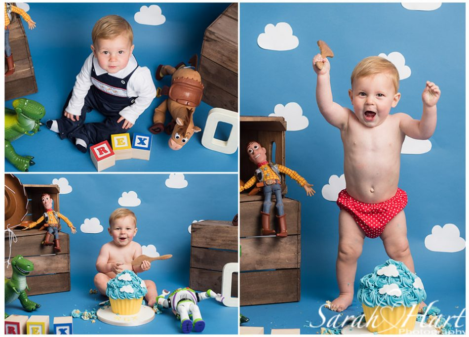 Toy Story theme cake smash, kent photographer