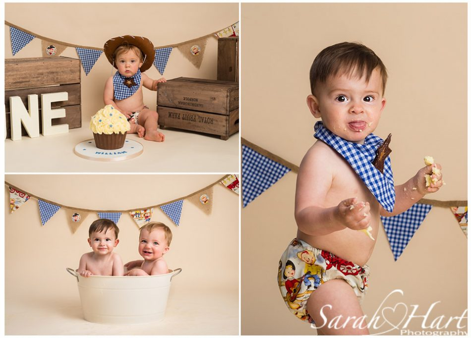 Cowboy themed cake smash for boys, Tunbridge Wells Photographer