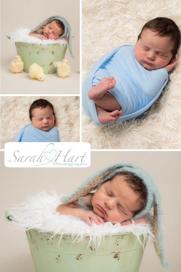 Pastel colours selected here by Sevenoaks newborn photographer