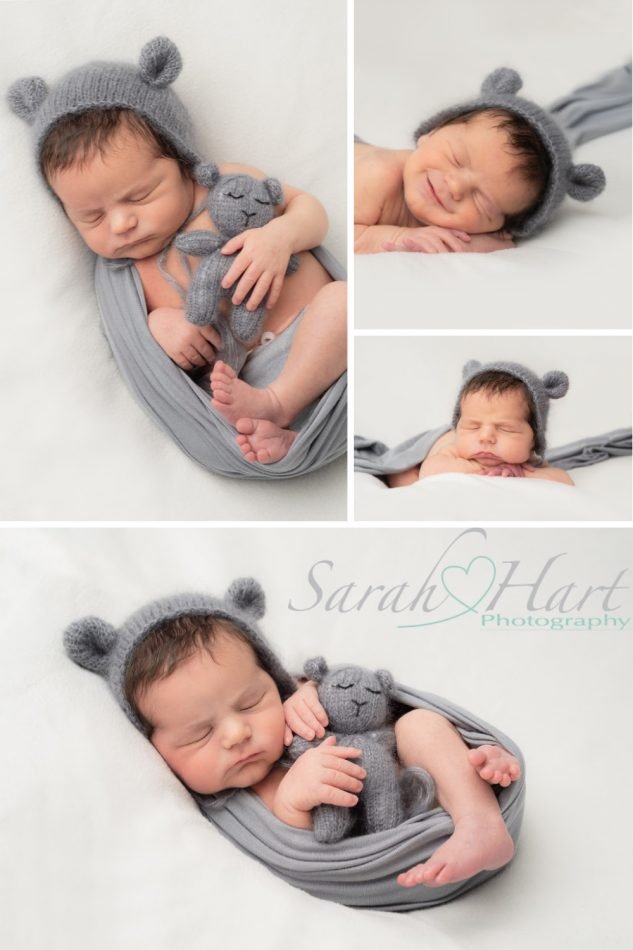 Newborn photography - baby with teddy bear bonnet