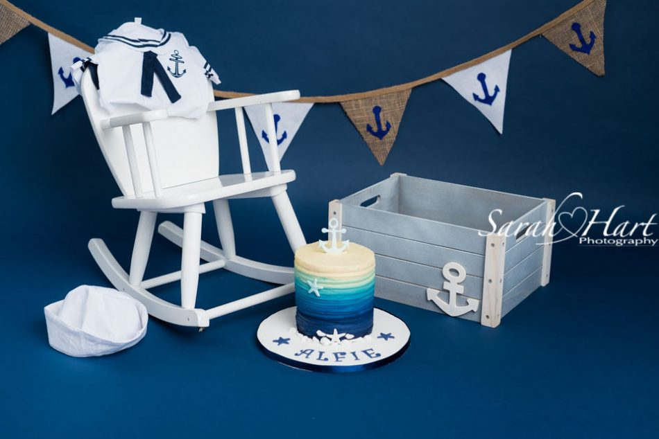 Little Sailor Boy Cake Smash set up, kent studio photographer