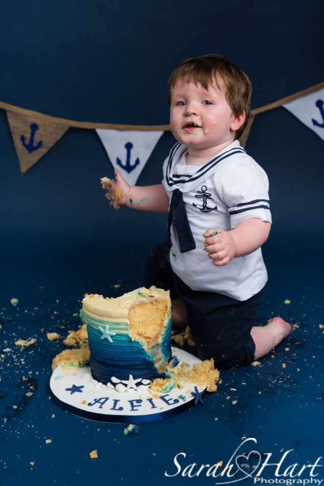 happy boy at his nautical theme cake smash, edenbridge photographer