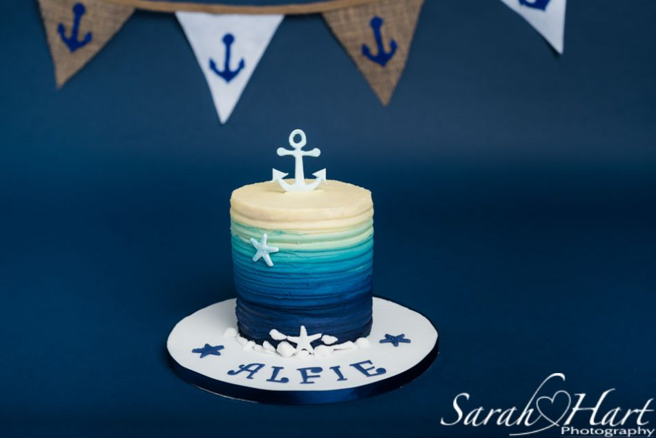 nautical theme cake smash, kent photographer