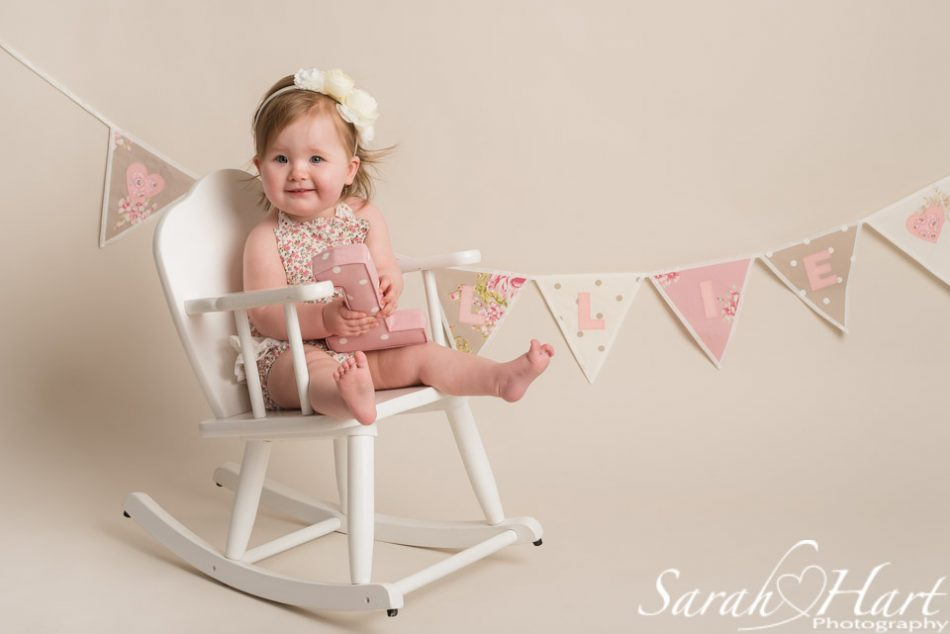 Vintage look for little girl's first birthday portrait session, Maidstone cake smash photographer
