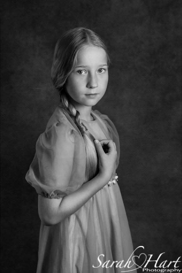 Fine art portrait girl in long floaty dress