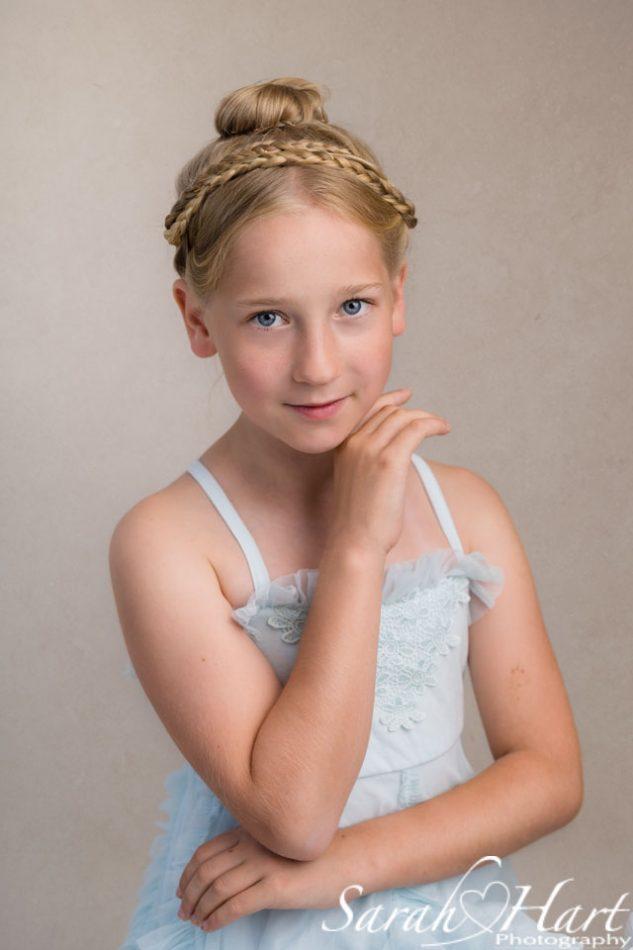 hair plaited over girls head, portrait photography, Kent