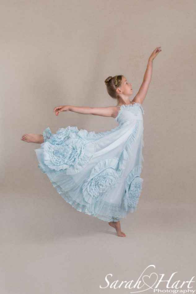 Girl dancing an arabesque, children portrait photographer tunbridge wells