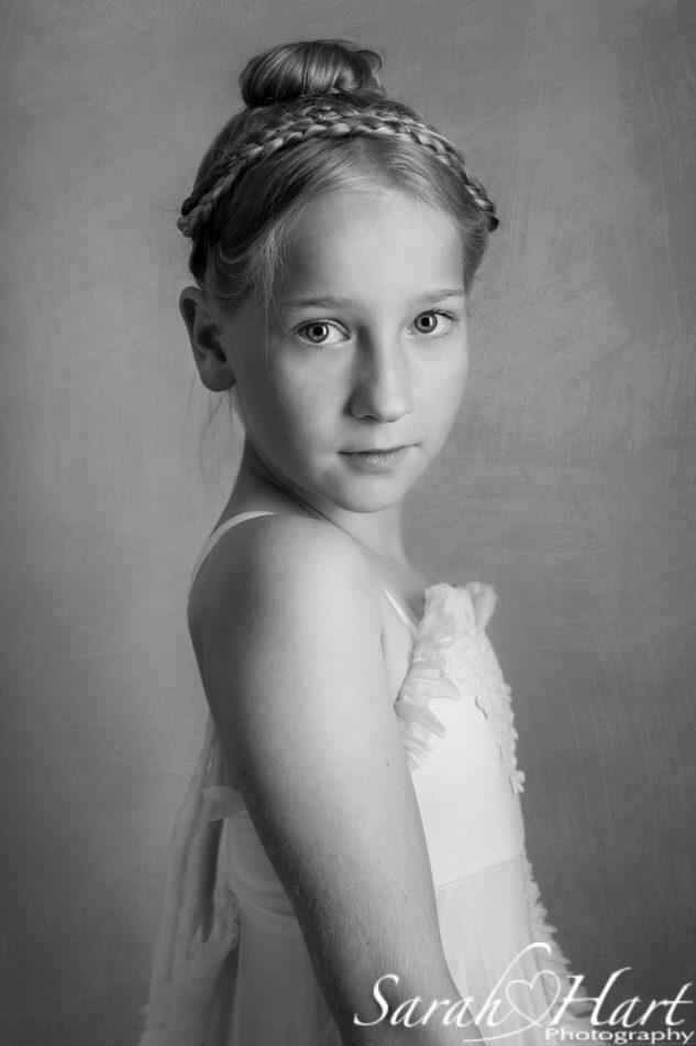 Fine art portrait in black and white of a young girl, sevenoaks portrait photographer