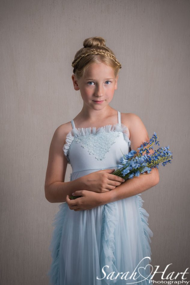 tonbridge children's portrait photographer, girl in blue dress
