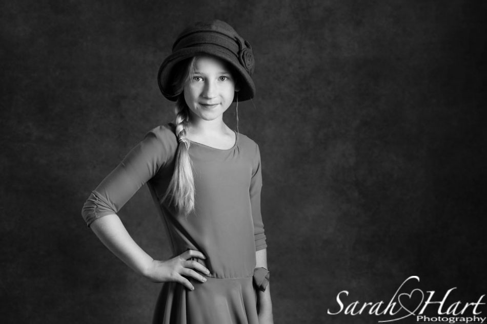 black and white fine art portrait of girl in dropped waist dress