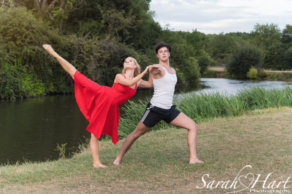 professional dancers photographed by the river, Tonbridge, Kent