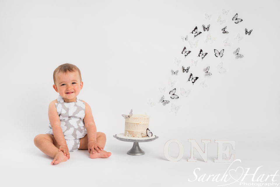 butterfly cake smash, kent baby photography