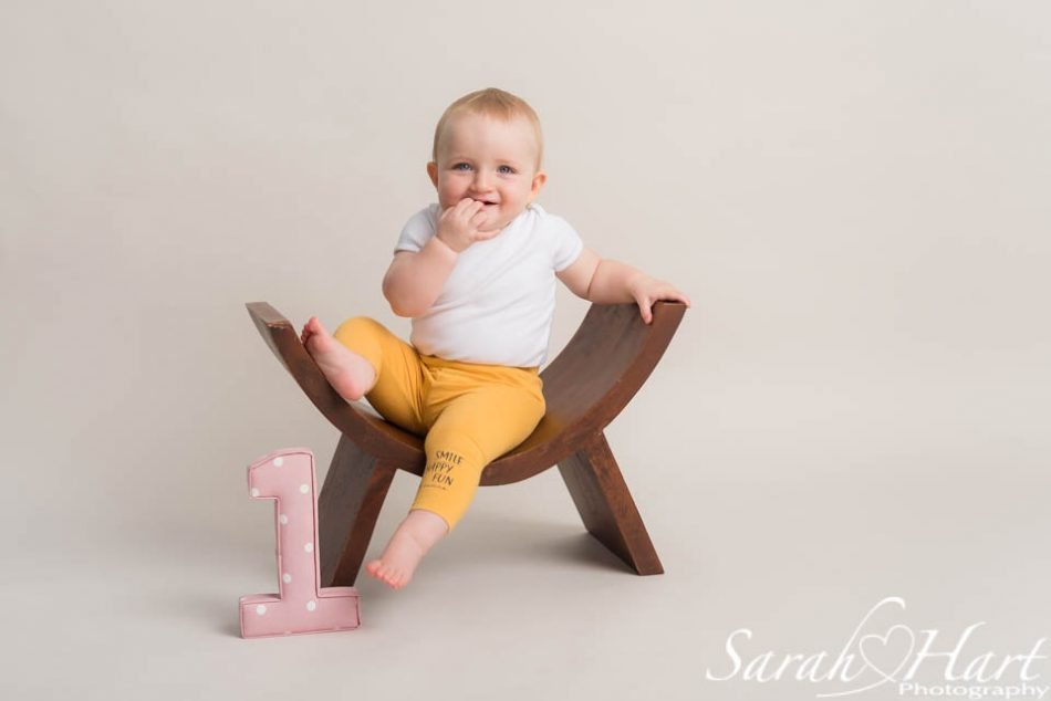 little girl with a number 1 sat on a stool, maidstone photographer