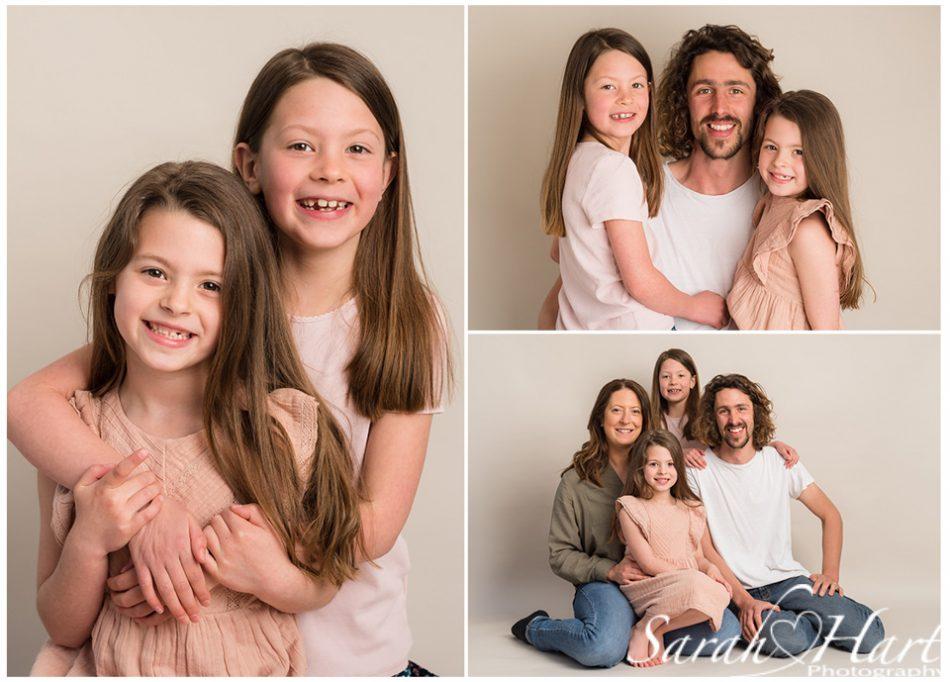 studio images of mini family photoshoot on beige backdrop