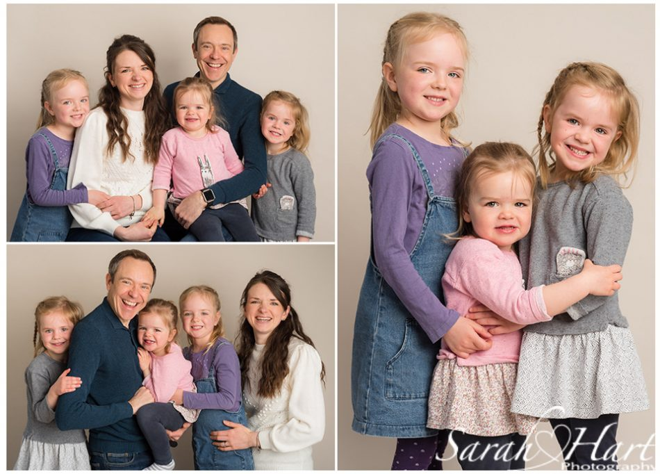 Different poses of family portraits taken at Tonbridge photography studio