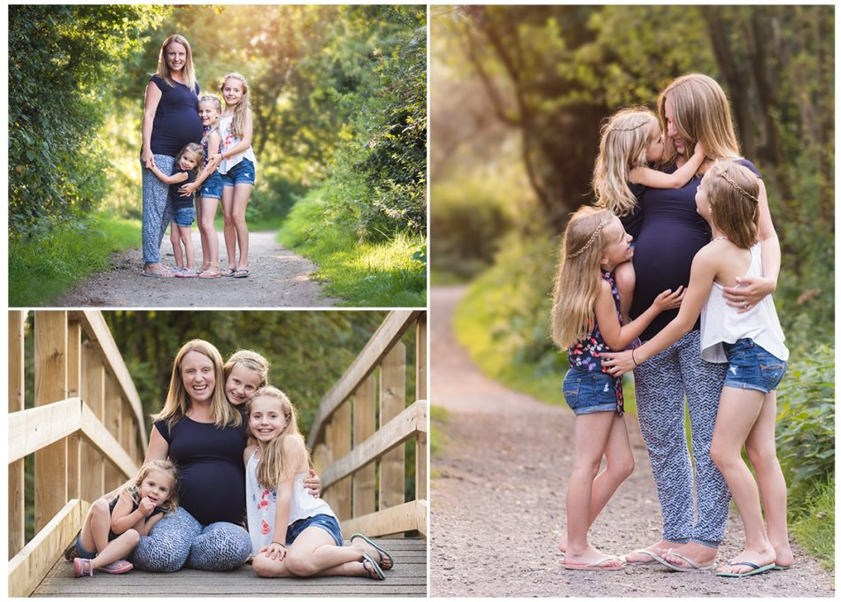 Outdoor Kent maternity photographer takes a set of images of sisters and their mum at Haysden Country Park