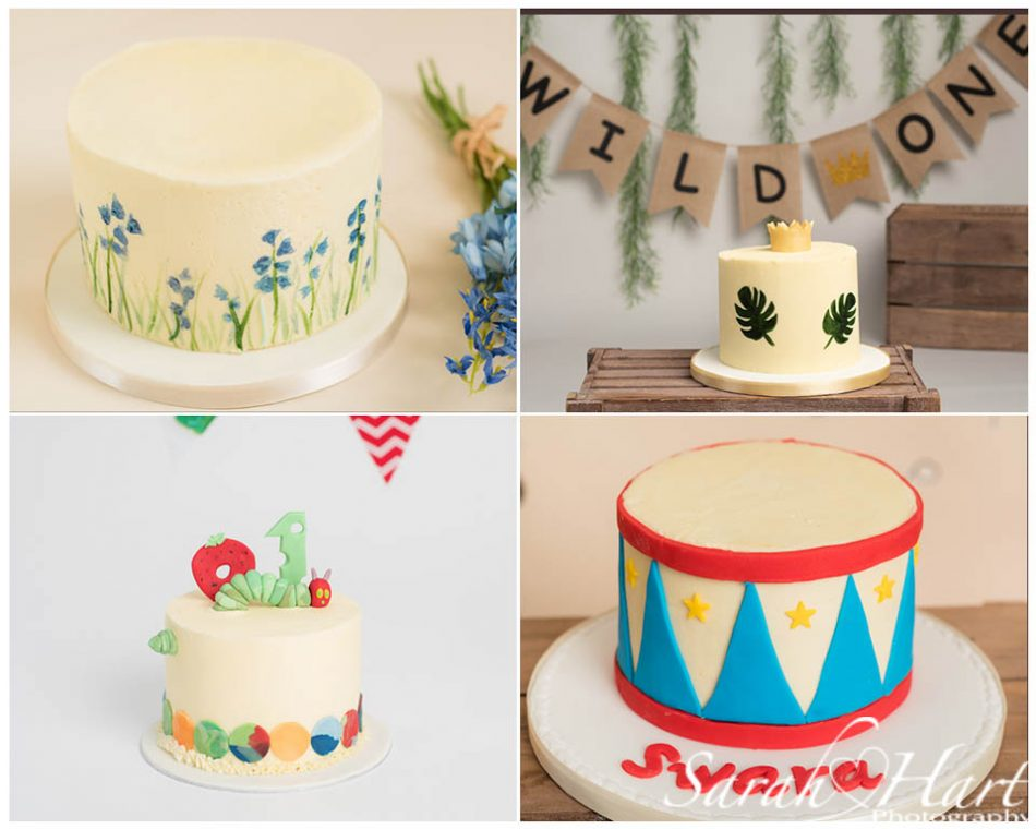 Four different themed cake smash cakes taken by Sevenoaks cake smash photographer