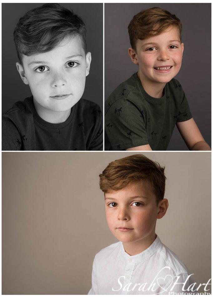 Three stunning portraits of young boy modelling for Tonbridge headshot photographer