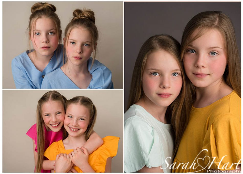 a collection of twin headshots taken by Sevenoaks headshot photographer