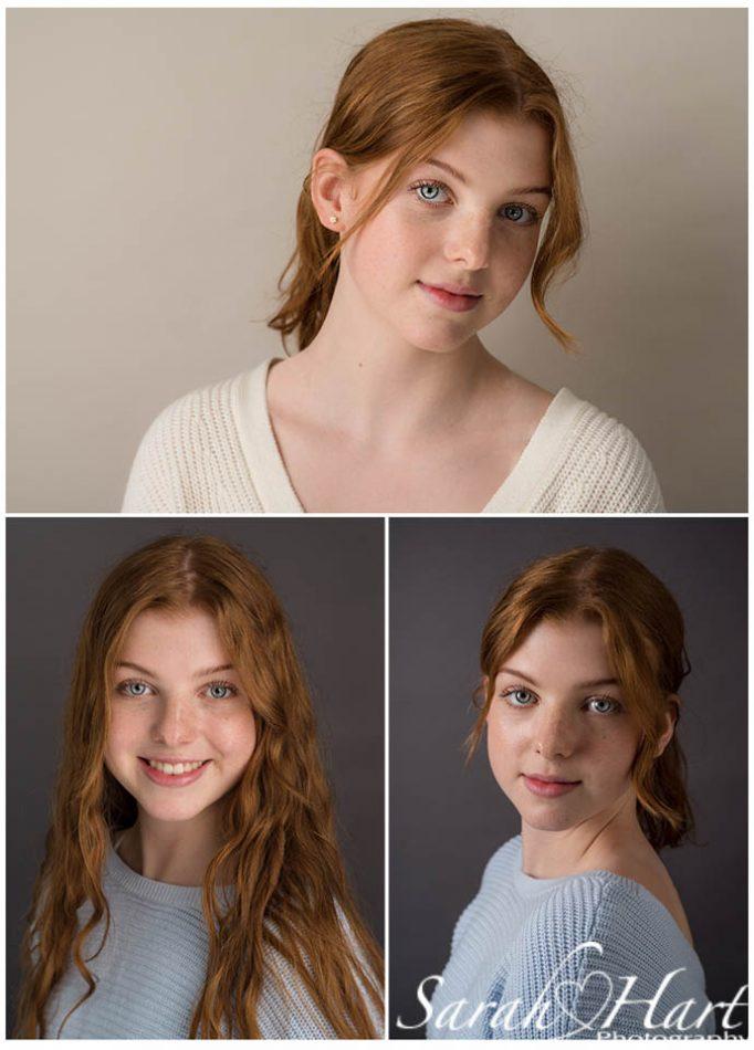 Teenage girl on different backdrops taken at Tonbridge Photography studio