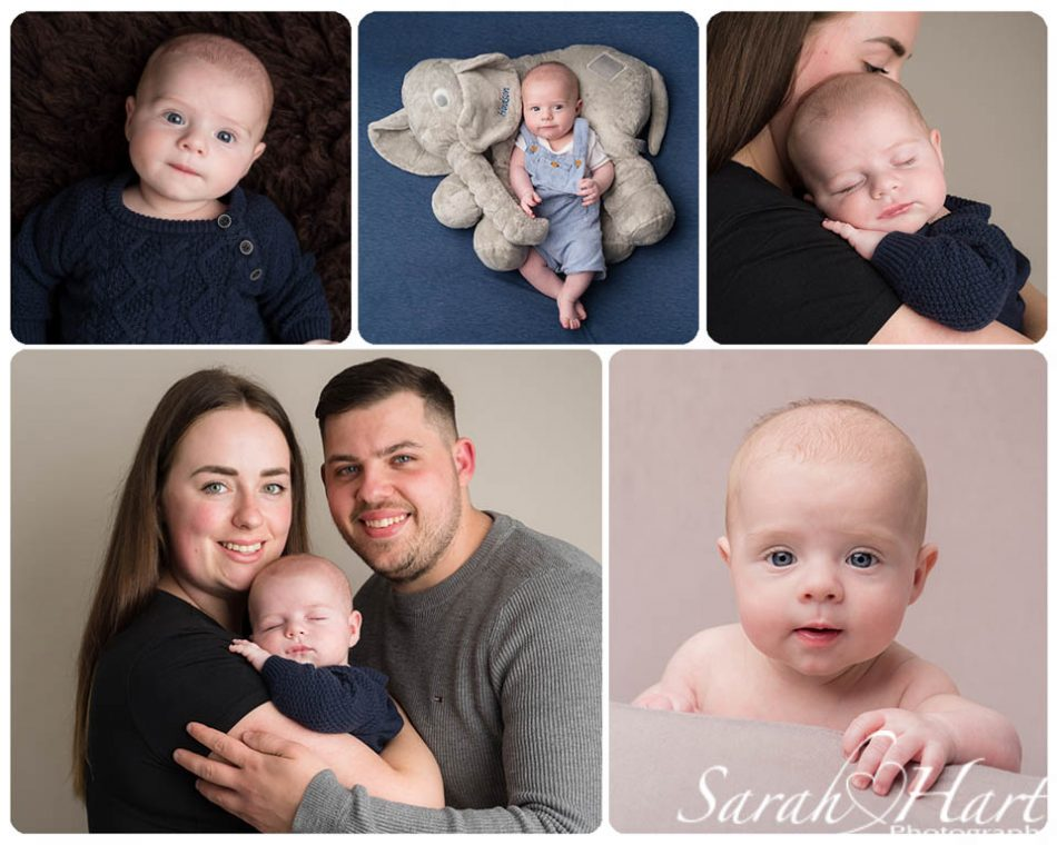 3 month old baby at milestone photoshoot