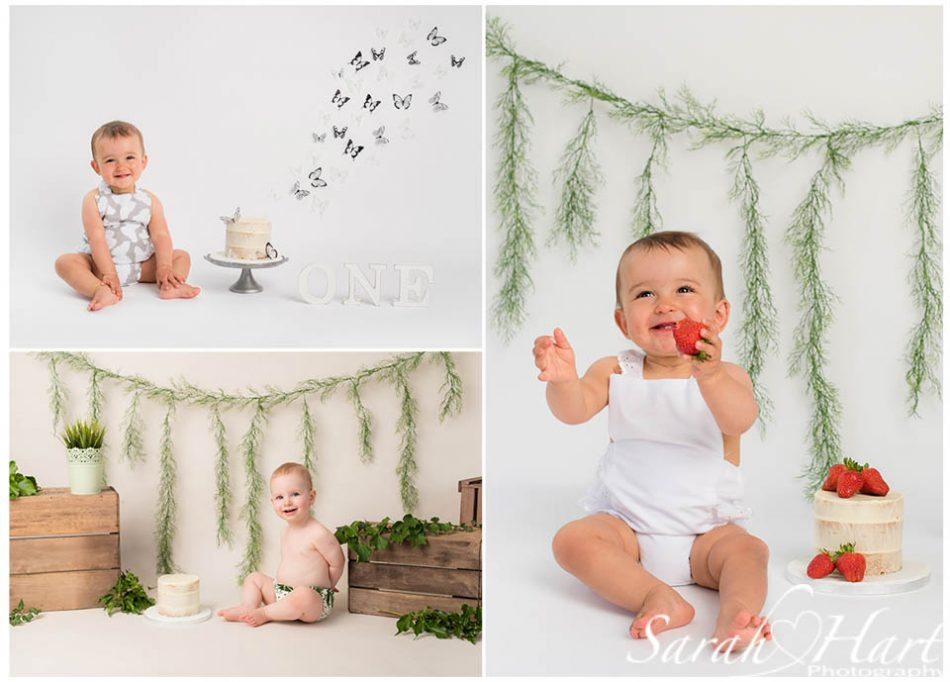 cute smiling babies at a Kent photoshoot on light backdrop