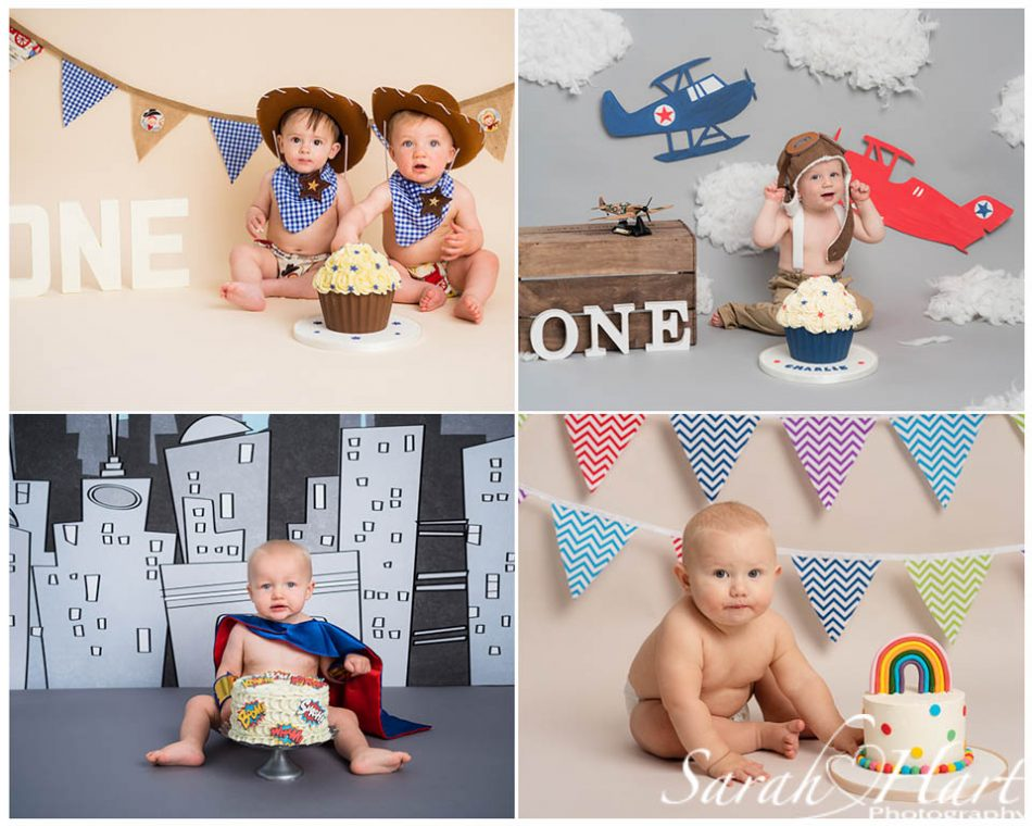 Cowboy, aeroplanes, superhero and rainbow baby themes at baby photoshoot